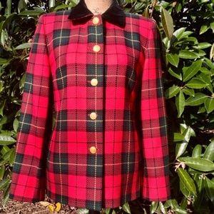 Talbots Merino Woven Wool Tartan Plaid USA Blazer